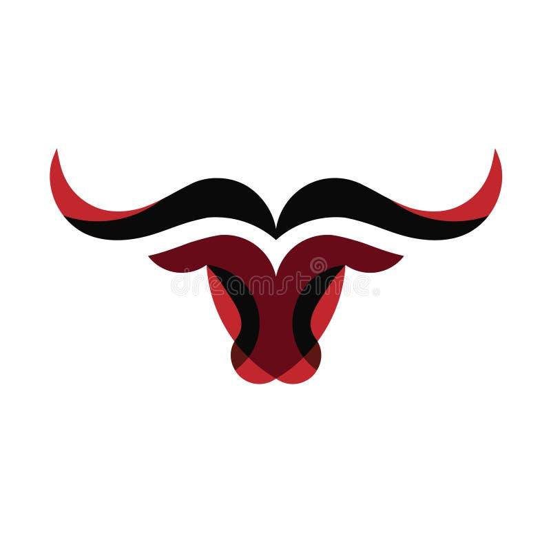 Logotipo simples abstrato do vetor da cabeça de Bull ilustração do vetor