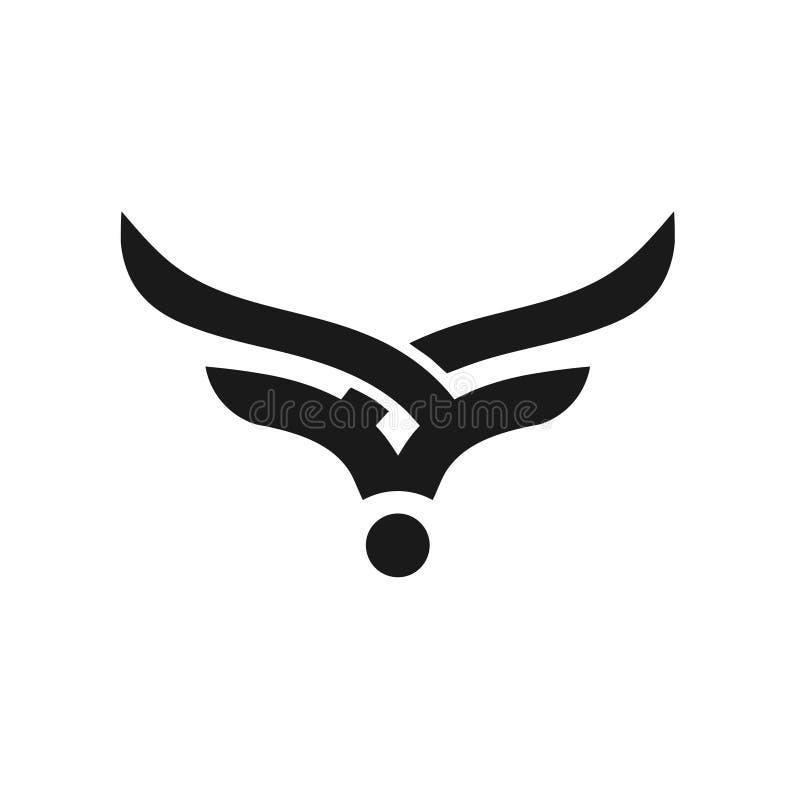 Logotipo simples abstrato do vetor da cabeça de Bull ilustração royalty free