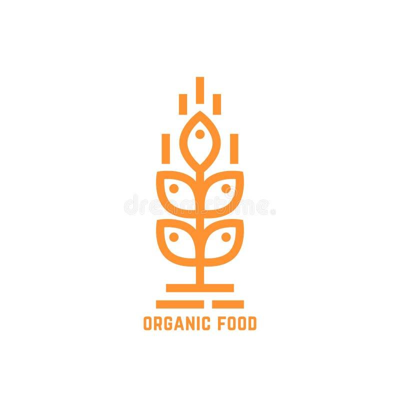 Logotipo simples alaranjado do alimento biológico ilustração royalty free