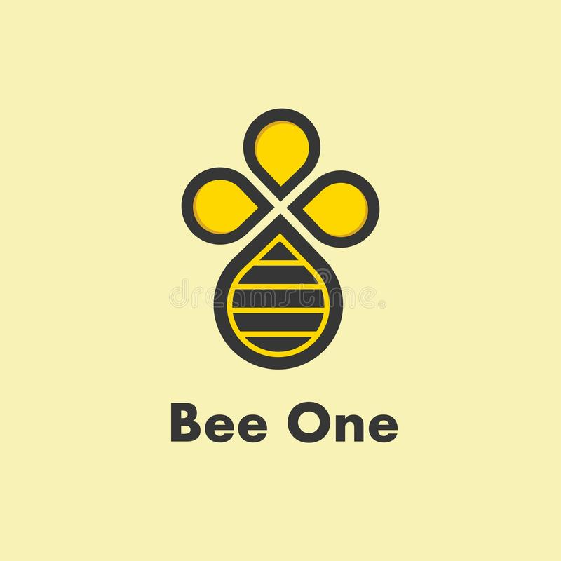 Logotipo simples da abelha logotipo liso Logotipo alaranjado ilustração do vetor
