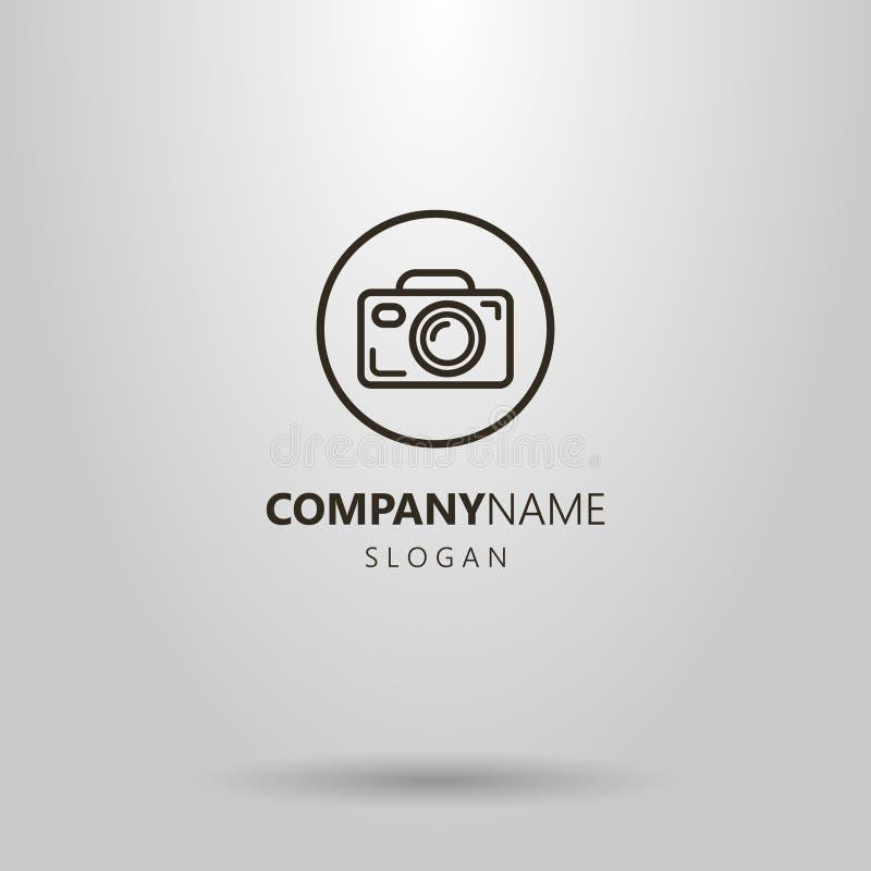 Logotipo simples da câmera do vetor no quadro redondo ilustração royalty free
