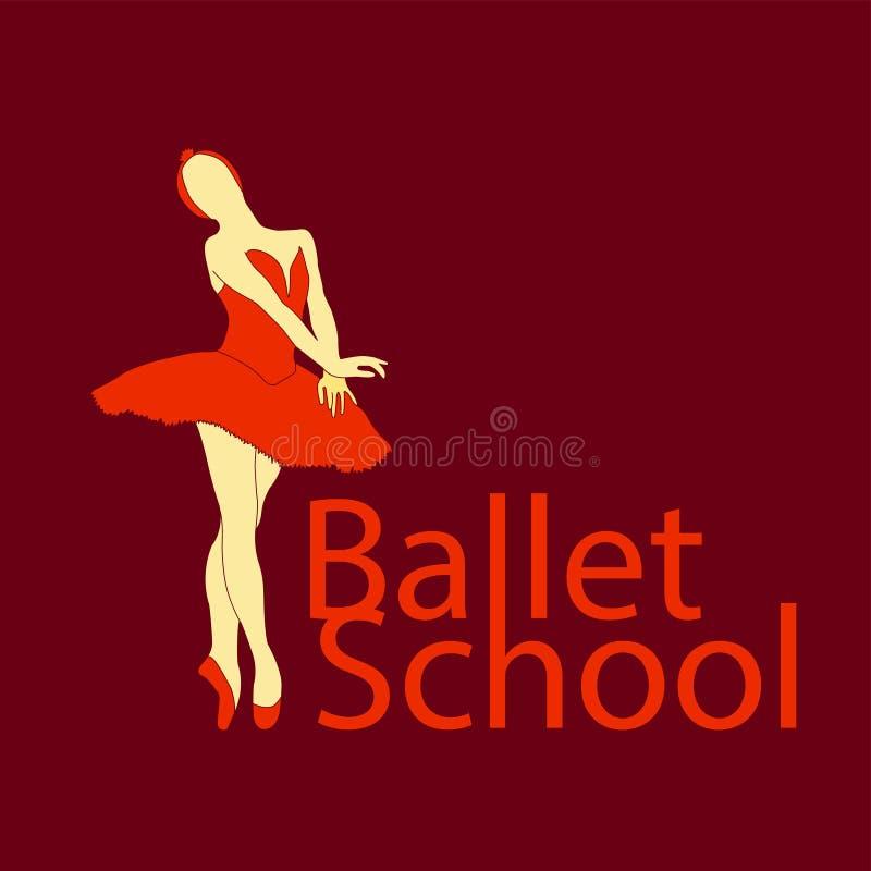 Logotipo simples da escola do bailado ilustração royalty free