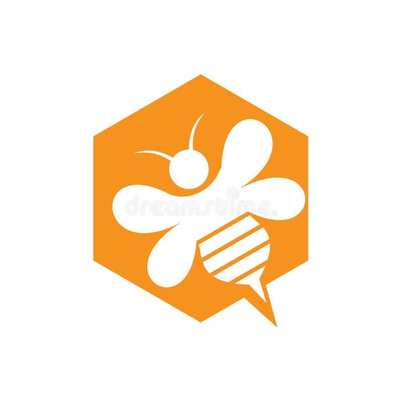 Logotipo simples da ideia de Honey Bee Hive Sting Chat do hexágono ilustração do vetor