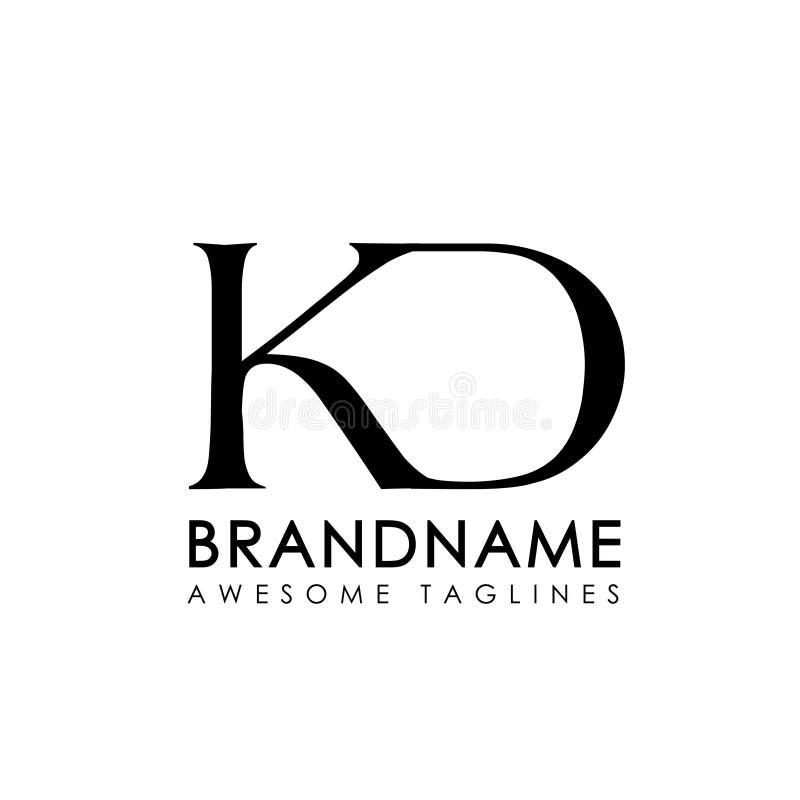 Logotipo simples das letras iniciais KD ilustração do vetor