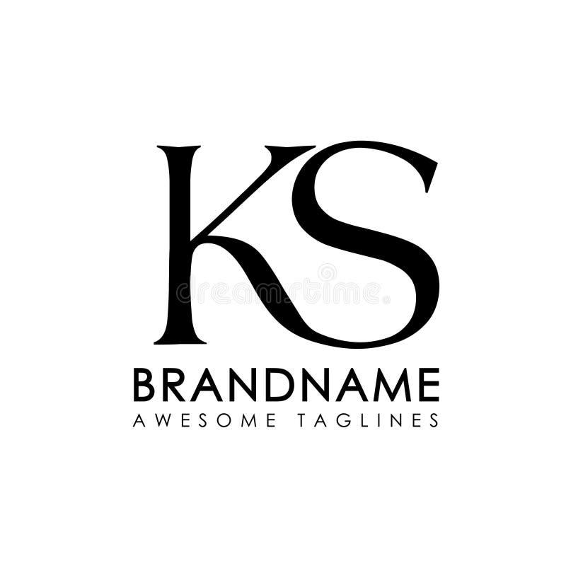 Logotipo simples das letras iniciais KS ilustração royalty free