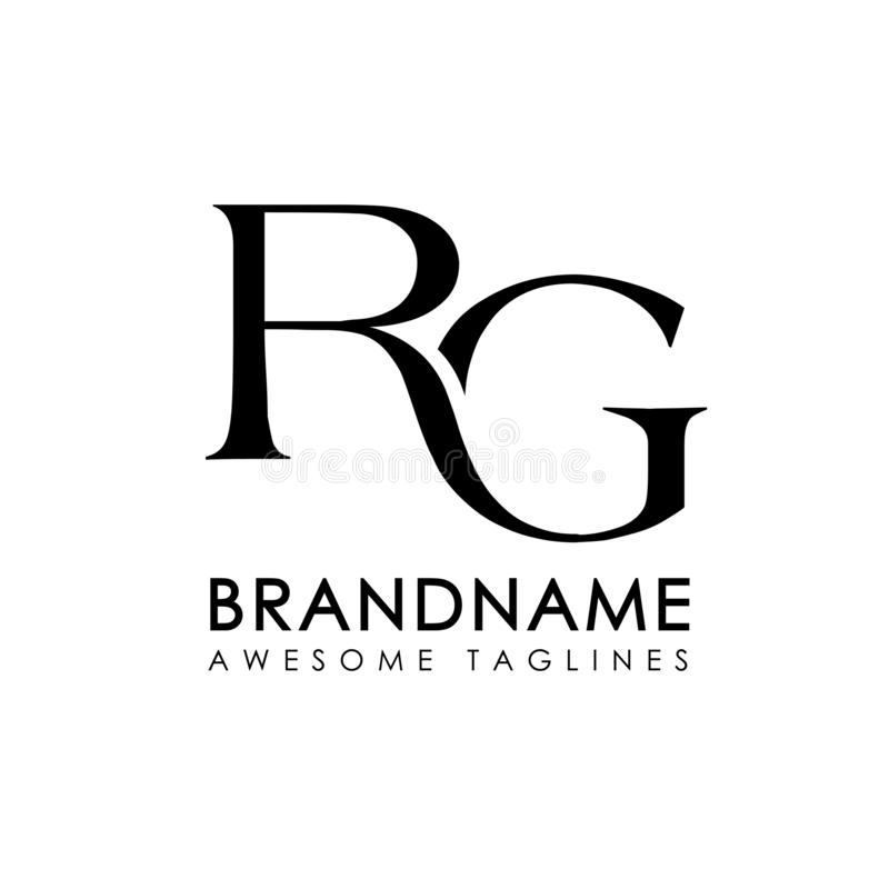 Logotipo simples das letras iniciais RG ilustração stock