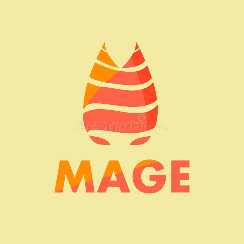 Logotipo simples do fogo logotipo do fogo liso logotipo alaranjado preto ilustração stock