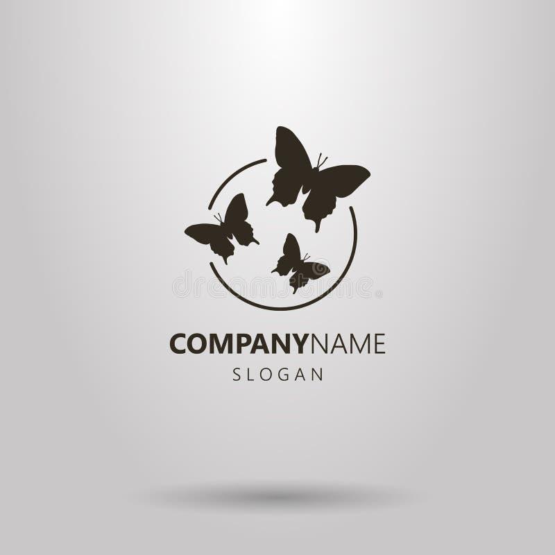 Logotipo simples do vetor de três borboletas em um quadro redondo ilustração do vetor