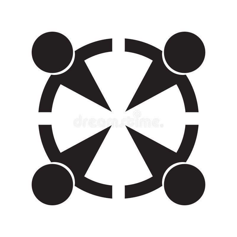 Logotipo simples dos trabalhos de equipa com quatro povos ilustração royalty free