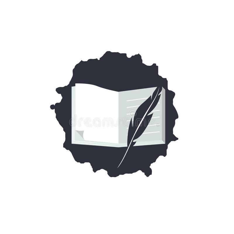 Logotipo simples para o dia de poesia de mundo Ícone com texto, pena, maçã e livros ilustração stock