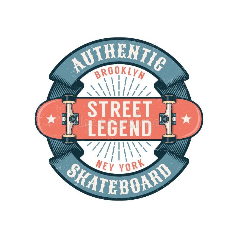 Logotipo skateboarding do moderno com fita redonda e o skate invertido ilustração stock