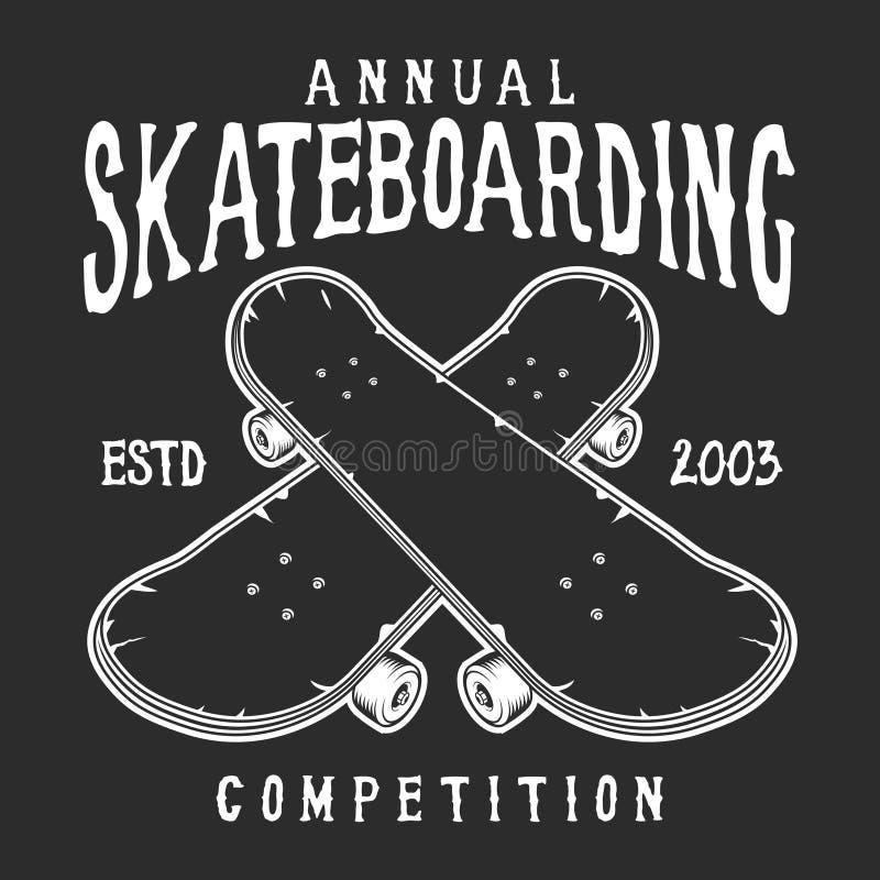 Logotipo skateboarding do vintage ilustração royalty free