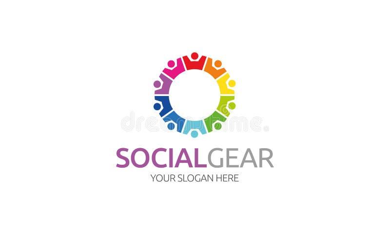 Logotipo social da engrenagem ilustração royalty free