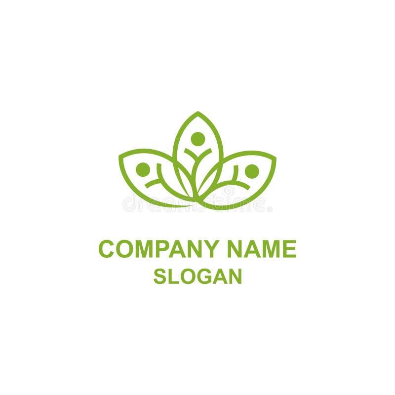 Logotipo social da humanidade abstrata da folha da flor ilustração royalty free