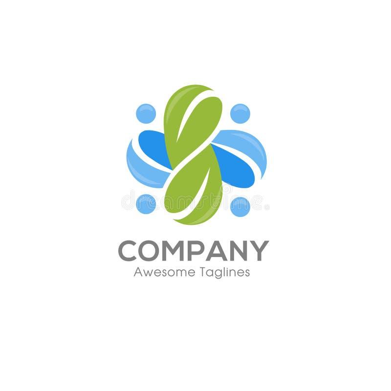 Logotipo social da saúde e logotipo orgânico abstrato da folha ilustração stock