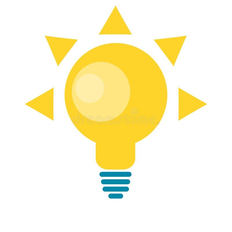 Logotipo solar da lâmpada da ideia do sol para a ilustração da energia do eco ilustração royalty free