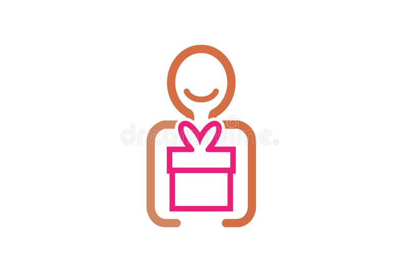 Logotipo sonriente abstracto de Person Character Gift Giving Surprise ilustración del vector
