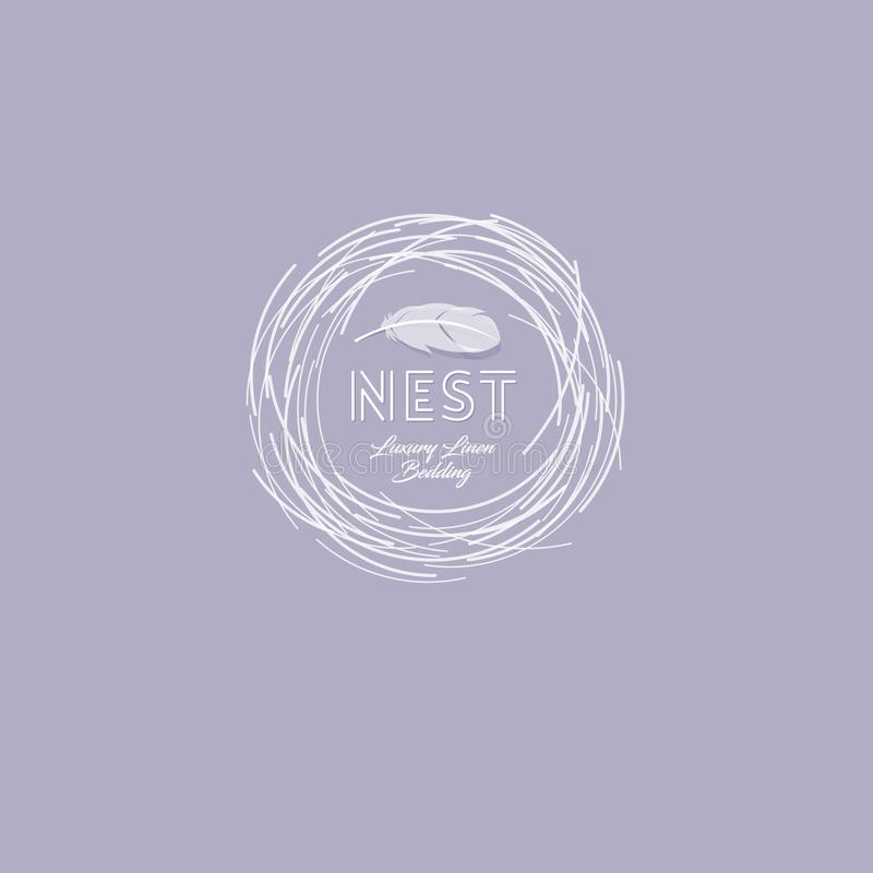 Logotipo suave de la jerarquía Emblema de la comodidad Lino de lujo Logotipo del lecho Jerarquía con la pluma en un fondo oscuro ilustración del vector