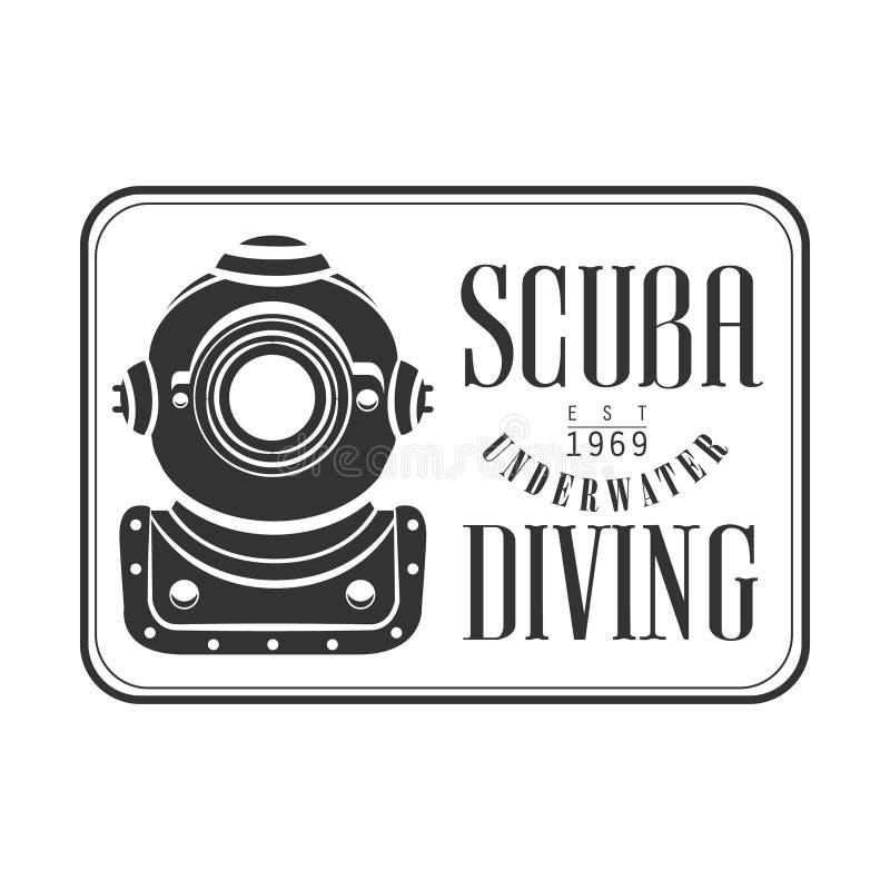 Logotipo subacuático 1969 del vintage del est del equipo de submarinismo que se zambulle Ejemplo blanco y negro del vector ilustración del vector