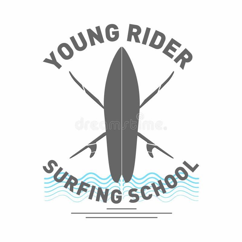 Logotipo surfando da escola Prancha monocromática com ondas e rotulação ilustração do vetor
