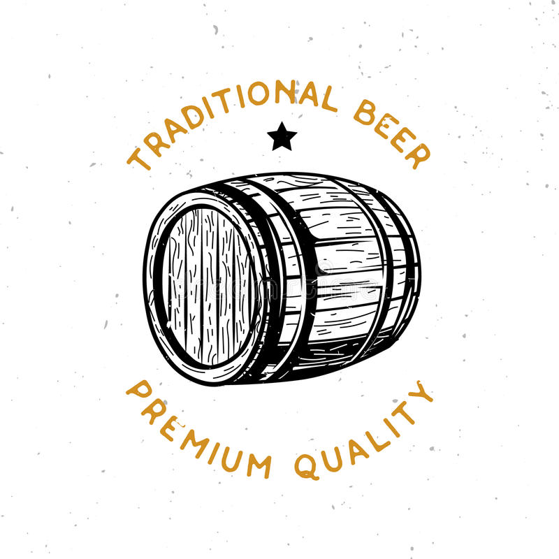 Logotipo temático de la cerveza con el barril de madera de la cerveza ilustración del vector
