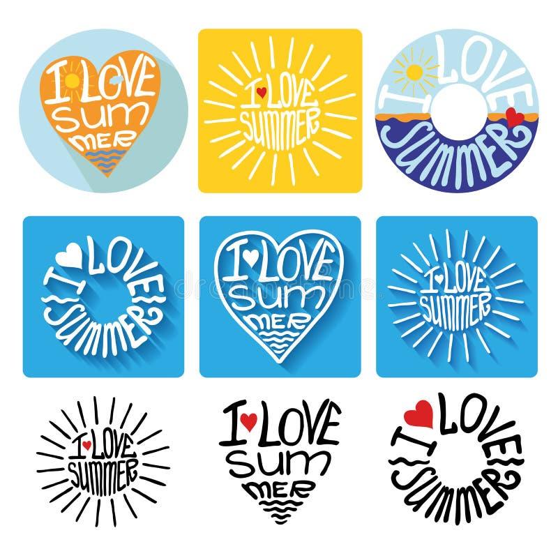 Logotipo tipográfico do verão, ícones, grupo de etiqueta molde ilustração do vetor