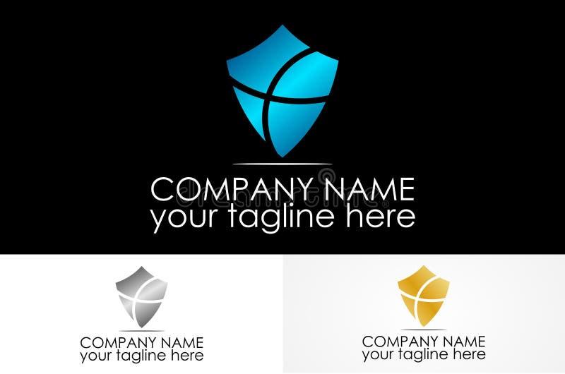 Logotipo transversal metálico do protetor ilustração stock
