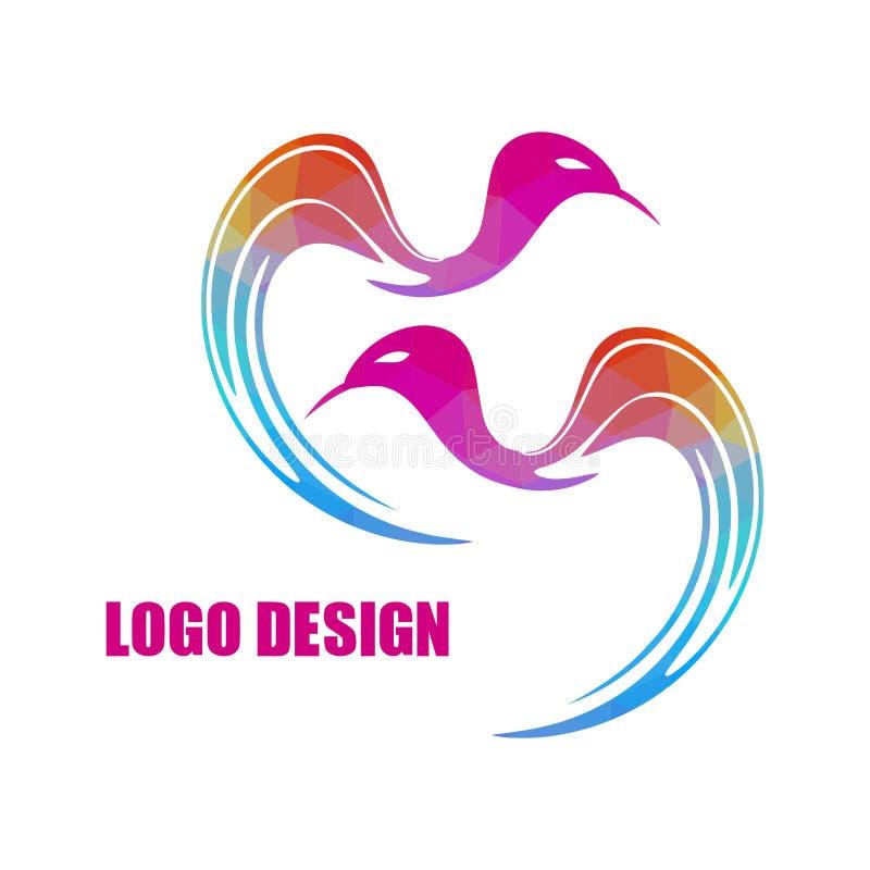 Logotipo triangular colorido brilhante moderno do pássaro no fundo branco ilustração do vetor