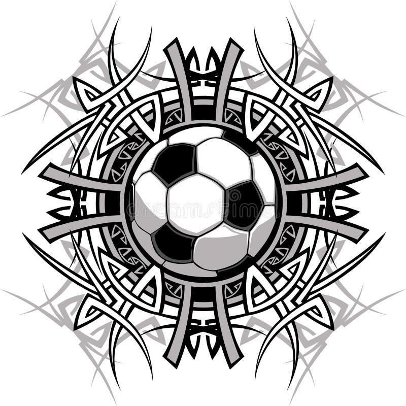 Logotipo tribal do vetor da esfera de futebol ilustração royalty free