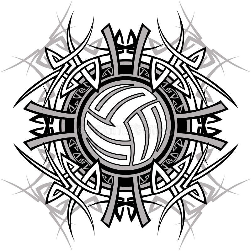 Logotipo tribal do vetor do voleibol