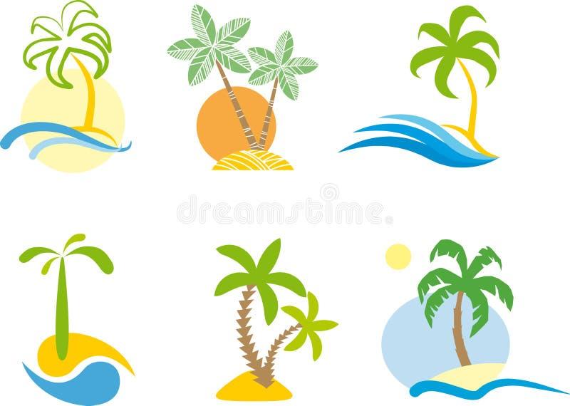 Logotipo tropical (gráfico da cena da praia.) ilustração royalty free