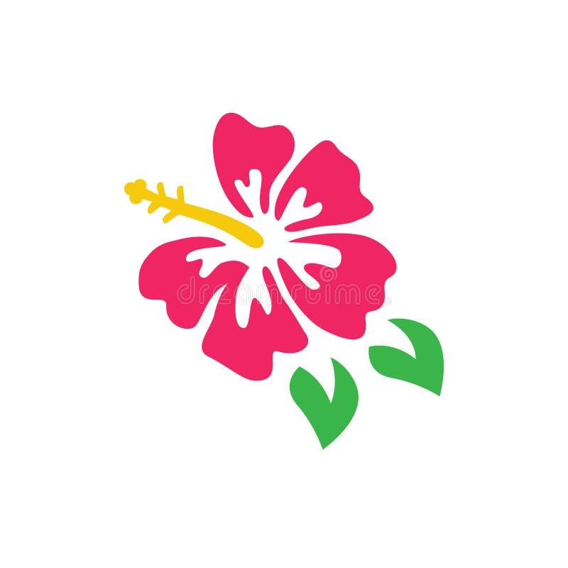 Logotipo tropical rosado del vector del hibisco stock de ilustración