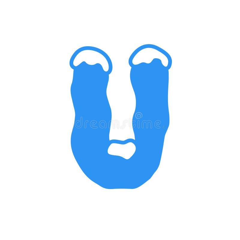 Logotipo U da letra da neve do vetor fotos de stock royalty free