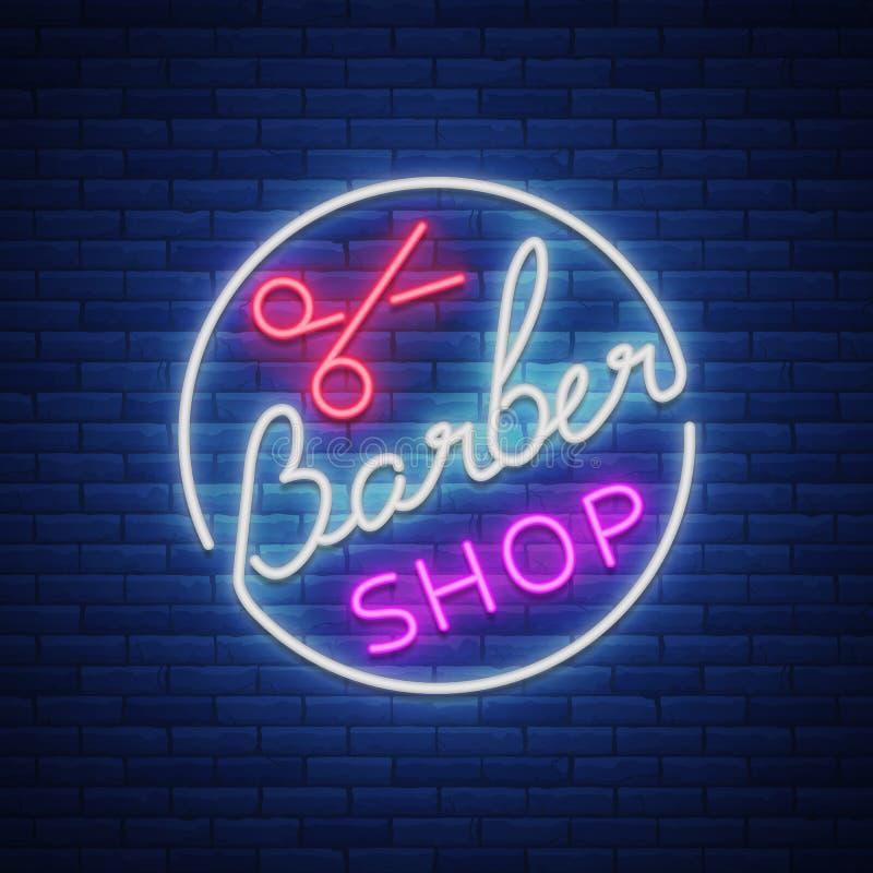 Download Logotipo, Um Sinal De Néon Para Um Cabeleireiro E Barbeiro  Emblema, Etiqueta De