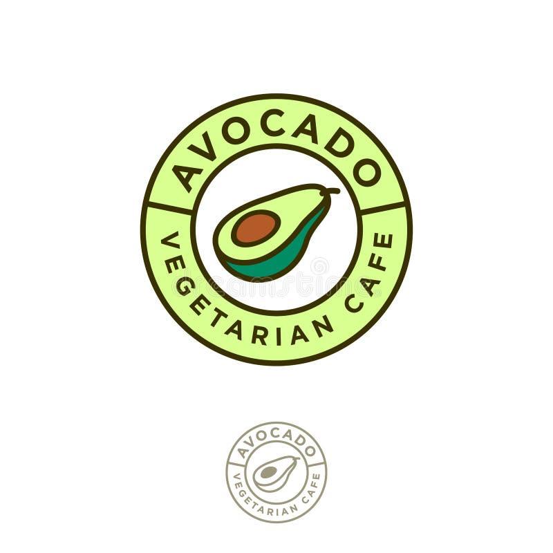 Logotipo vegetariano del restaurante Emblema del café del aguacate Icono del aguacate stock de ilustración