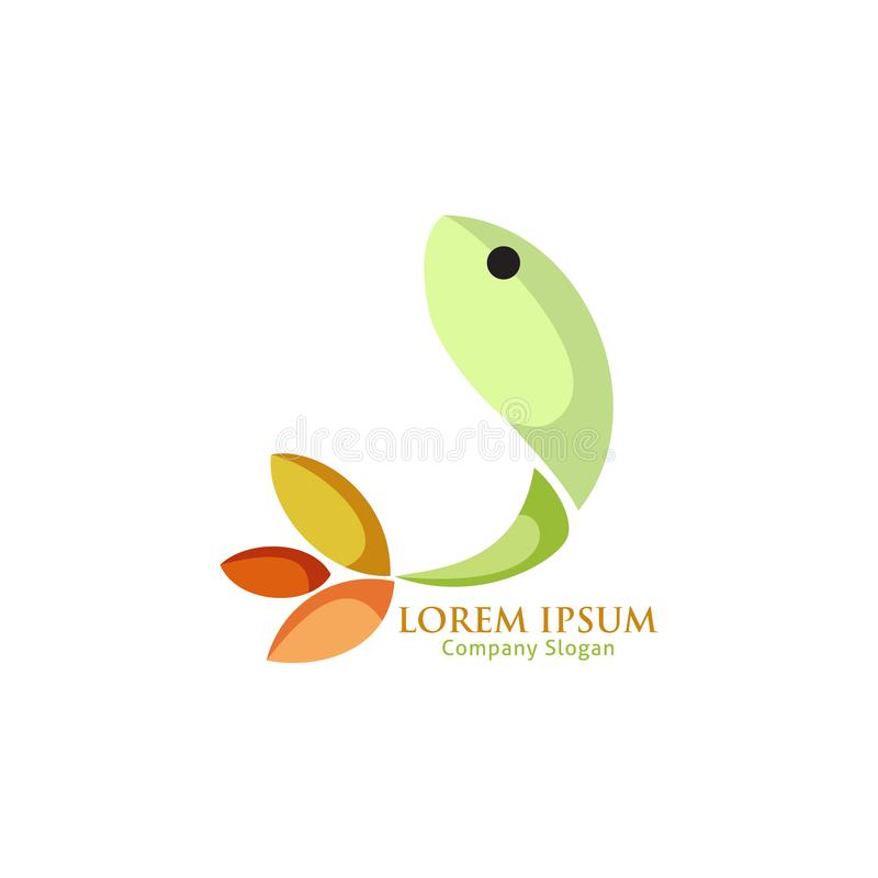 Logotipo verde abstracto de los pescados para el restaurante de los pescados stock de ilustración