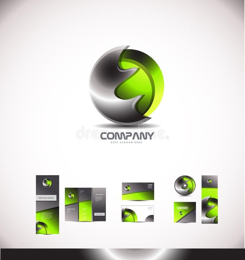 Logotipo verde abstrato da esfera 3d do metal ilustração royalty free