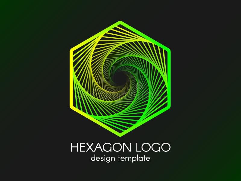 Logotipo verde abstrato do hexágono Elemento moderno do inclinação no fundo preto Molde do projeto para o cartão ou o Web site ilustração do vetor