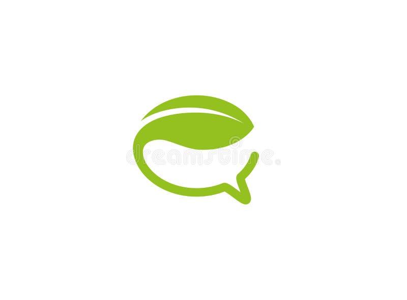 Logotipo verde criativo da folha do bate-papo da bolha ilustração stock