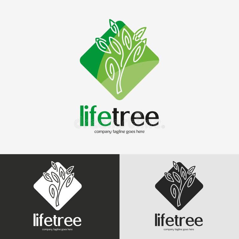 Logotipo verde da árvore ilustração stock