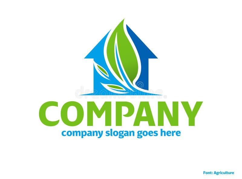 Logotipo verde da casa do eco da natureza ilustração stock