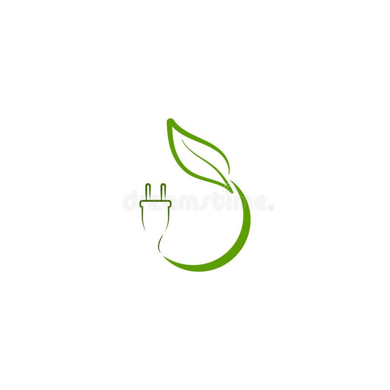Logotipo verde da energia do eco com folha e tomada de poder imagem de stock royalty free