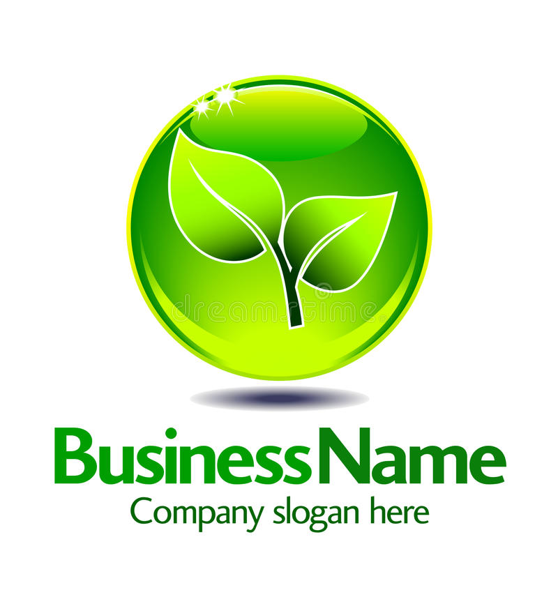 Logotipo verde da folha ilustração stock