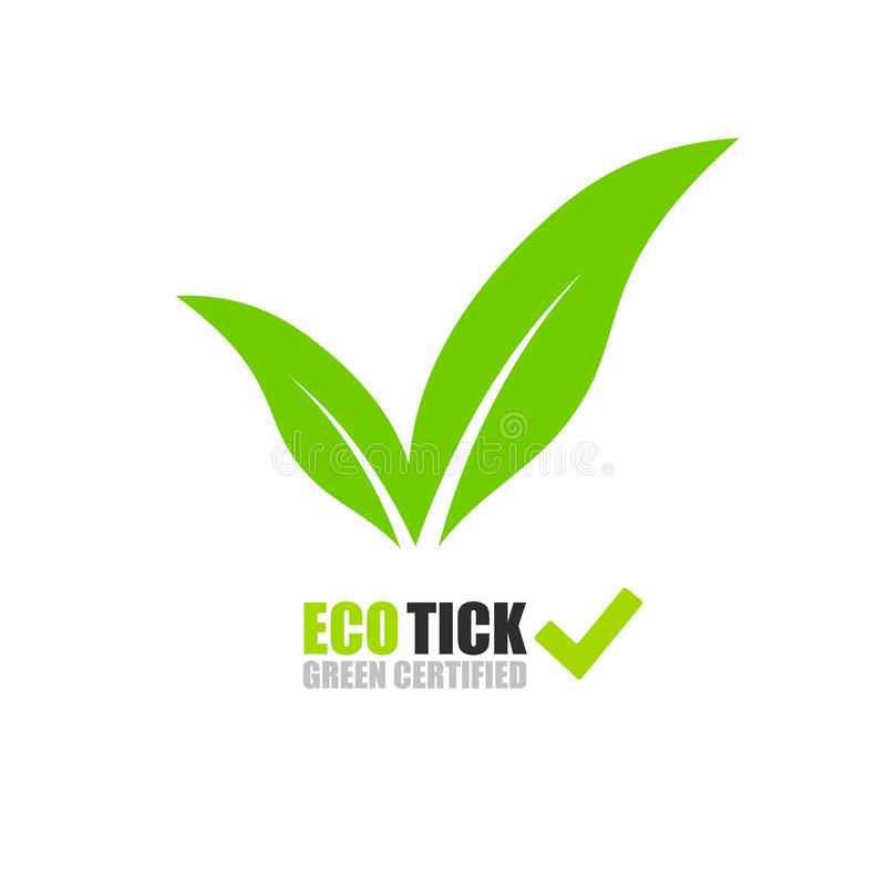 Logotipo verde da folha do tiquetaque ilustração stock