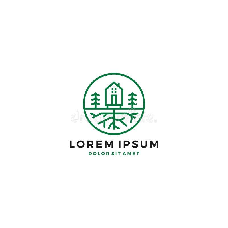 logotipo verde da raiz da árvore do jardim da casa ilustração royalty free