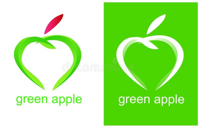 Logotipo verde da saúde de Apple ilustração do vetor