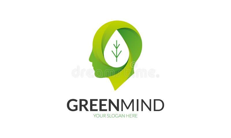 Logotipo verde de la mente ilustración del vector