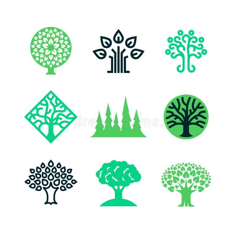 Logotipo verde del árbol de la naturaleza Concepto del vector de la educación de Eco libre illustration