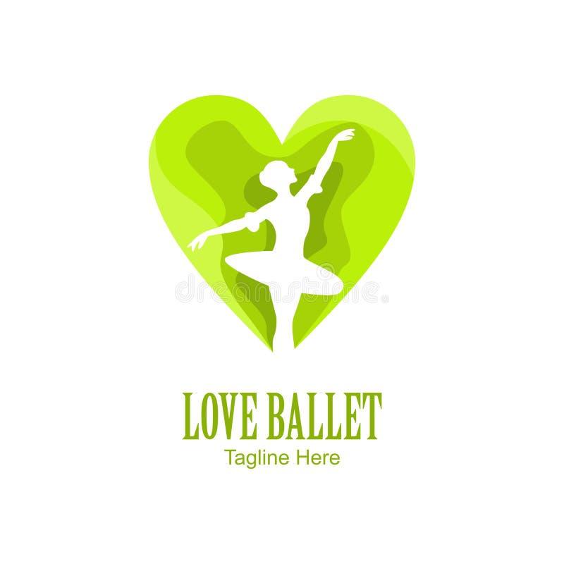 Logotipo verde del ballet del amor libre illustration