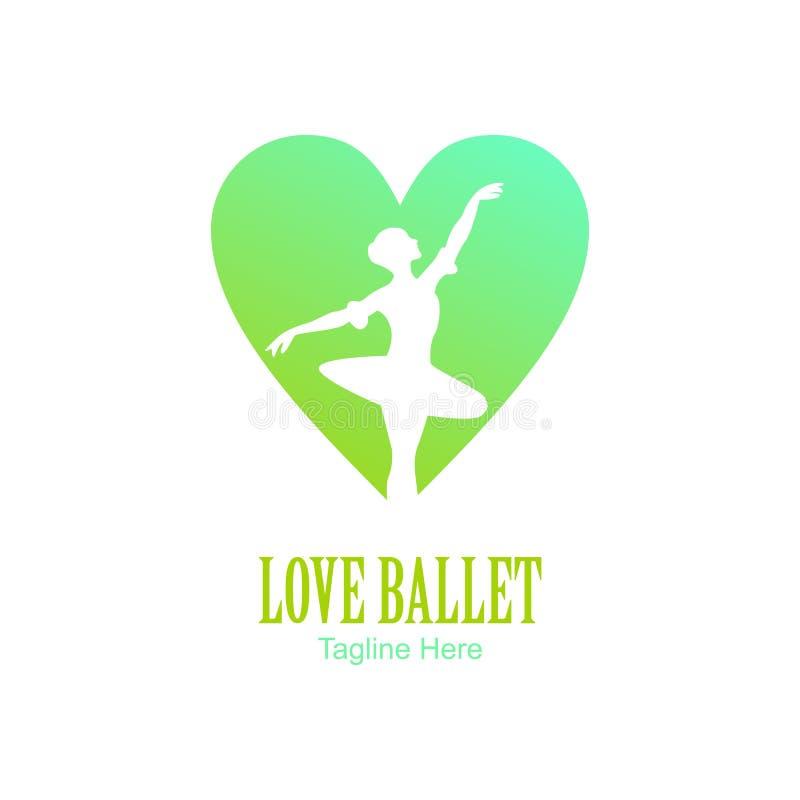 Logotipo verde del ballet del amor ilustración del vector